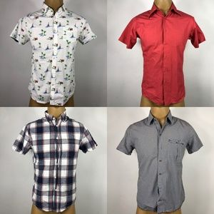 Lot of 4 Short Sleeve Checkered Casual Shirts SZ M